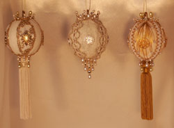 Set of Three Amazing and gorgeous gold and white Victorian Christmas Tree ornaments