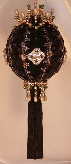 Victorian Christmas Ornament with black sequin brocade, hunter green velvet, crystal rhinestone and Emeral Swarovski Crystals