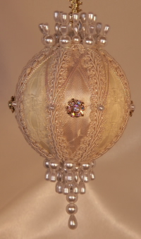 Giftable Heirloom ornaments by Orna Mentz, ivory and lace, Swarovski Crystals