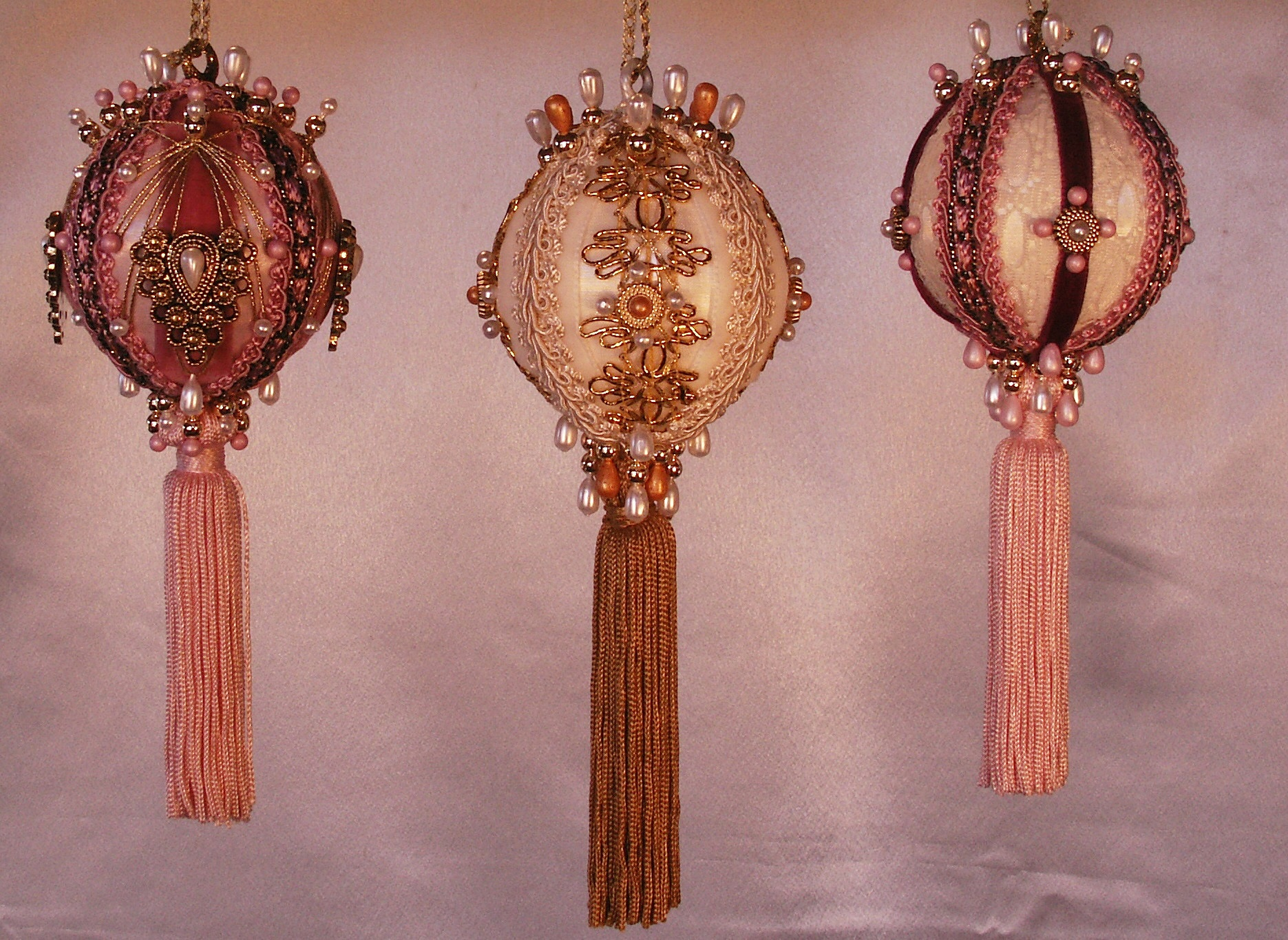 Set of Mauve and Gold Ornaments