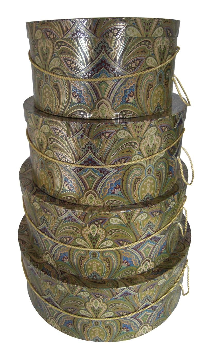 Golden Paisley brilliant and beautiful set of four hatboxes