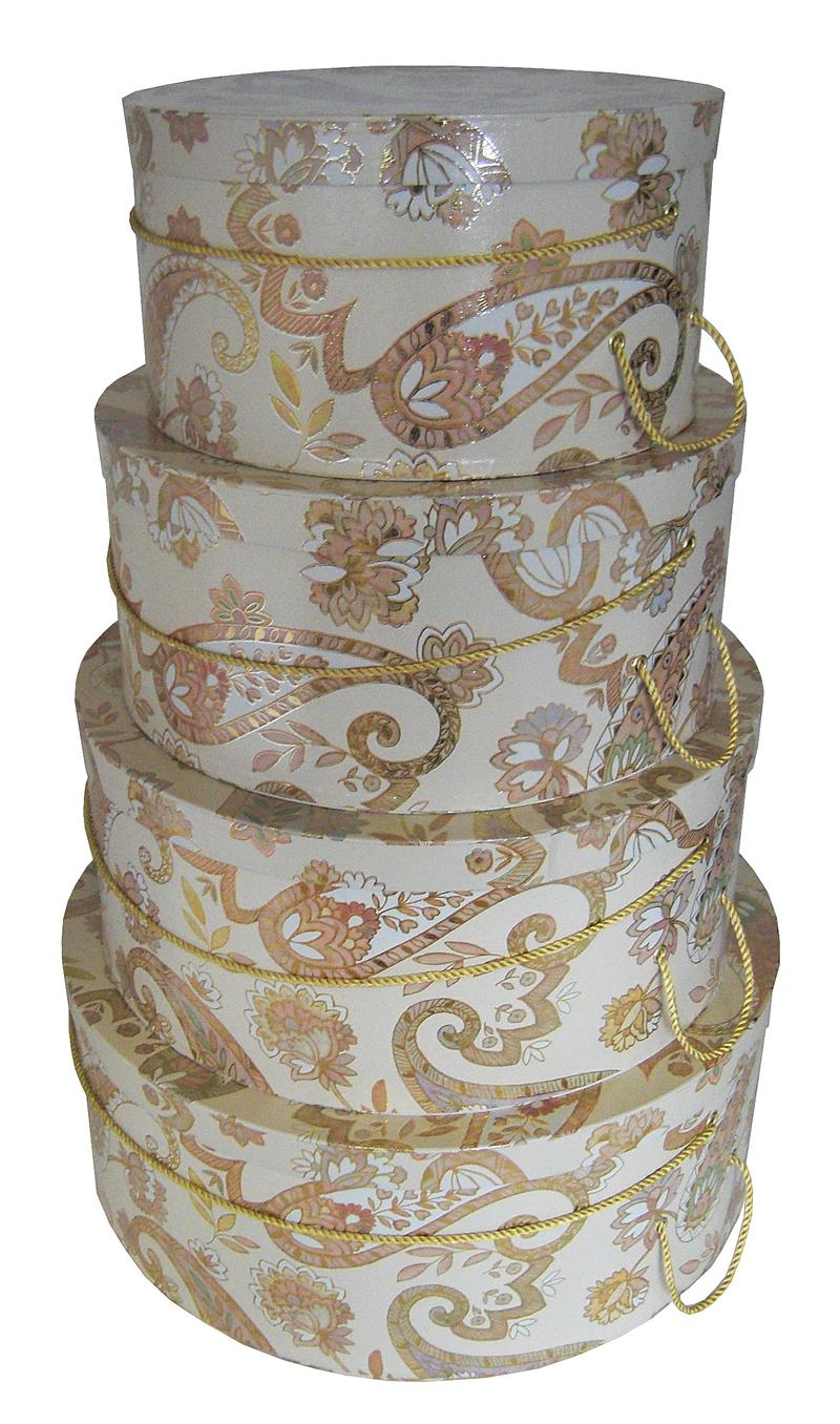 Multi-colored Paisley design beautiful set of hatboxes