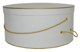 Single White with gold trim hatbox on sale