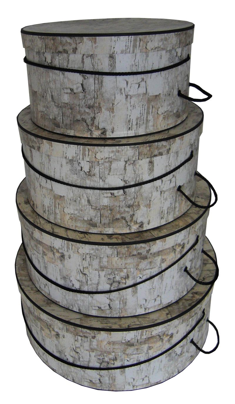 White Birch set of four beautiful hatboxes