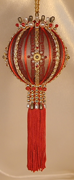Victorian Christmas Tree Ornament in shades of red and gold with Swarovski Crystals
